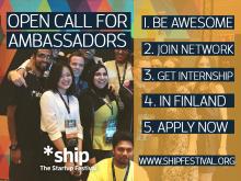ship The Startup Festival Open Call for Ambassadors