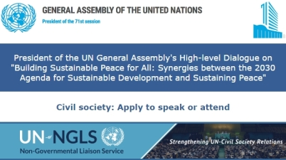 UNGA and UN-NGLS High-level conference on SDGs, Peace and Peacebuilding