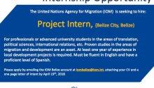 United Nations Migration Agency (IOM) Belize 2018 internship