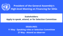 "UN General Assembly's High-level Meeting ""Financing for SDGs"