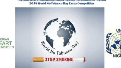 2018 Nigerian Heart Foundation - United Nations Association of Nigeria World No-Tobacco Day Essay Competition