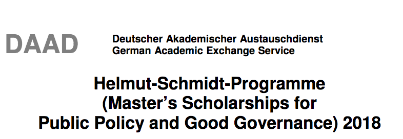 DAAD Helmut-Schmidt-Programme Masters Scholarship For Public Policy and Good Governance 2018