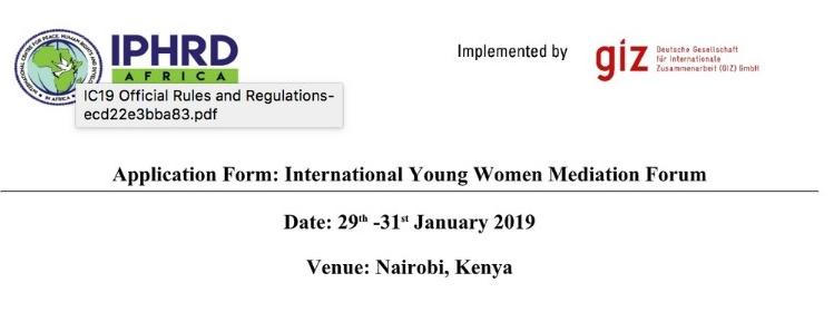 2019 International Young Women Mediation Forum