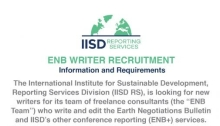 International Institute for Sustainable Development ENB Writers Recruitment