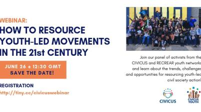 CIVICUS Webinar on How to Resource Youth-Led Movements