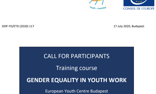 Council of Europe Gender Equality in Youth Work Training 2020